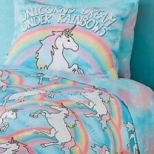 Justice Unicorn Queen 7 pc Comforter Sham Sheet Bedding Bedrooom Bed in Bag Set