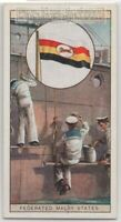 British Colonial Flag Of The Federated Malay States 80+ Y/O  Ad Trade Card