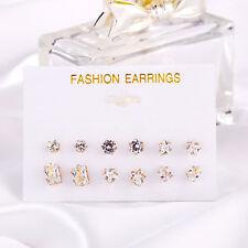 Alloy Ear Stud Jewelry Earrings Womens Geometric Star Transparent Crystal Zircon