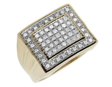 Men's 10K Yellow Gold Double Square Genuine Diamond Engagement Ring 0.50ct 16MM