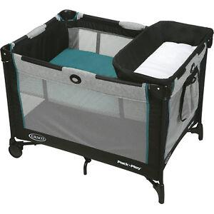 Baby Boys Graco Pack 'N Play Playard Playpen Black Portable Napper Changer Crib