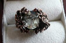 Oval Green Amethyst Rhodolite Garnet 925 Silver Rhodium Gold Ring Sz P1/2 8.25