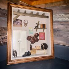 Vintage Football Wood/Glass 3D Shadow Box Wall Art