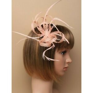 Nude fascinator with sinamay loops and feather tendrils (beak clip and pin)