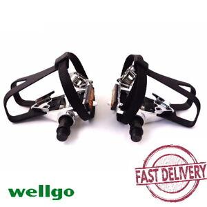 "Wellgo LU-209 Toe Clip Straps 9/16"" Pedal Sport Road MTB Fixed Bike Pedals"