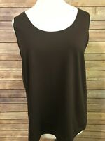 Chicos Brown Shell Tank Top Size 3 Sleeveless Nylon Stretch Knit Layering