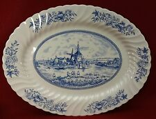 JOHNSON BROTHERS china TULIP TIME BLUE England Oval Serving Platter 15-5/8""