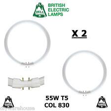 2 X BELL T5 CIRCULAR FLUORESCENT TUBE T5 55 WATT COL 830 2GX13 WARM WHITE BNIB