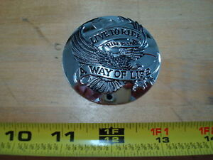 CHROME LIVE TO RIDE GAS CAP COVER FOR HARLEY DAVIDSON