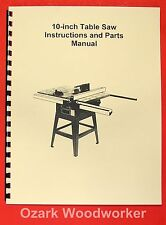 """JET/Asian JTS-10JF 10"""" Contractor Table Saw Operator's & Parts Manual 0382"""