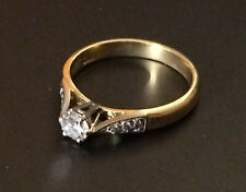 18ct Gold & Solitaire Diamond engagement Ring 16mm hallmarked