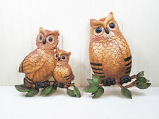 Vintage Plastic Homco Dart Owl Wall Plaque Hanging Art Set Pair 1970s 7403 USA