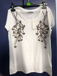 M&S Pertuna Tshirt Womens Top Beaded Embroidery Ivory Size UK 10 New With Tag
