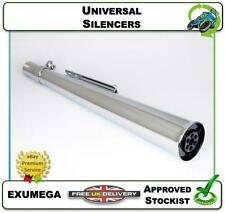 NEW UNIVERSAL SILENCER CAFE RACER MOTORCYCLE EXHAUST CHROME MEGAPHONE