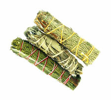 "Lot of 3 Sage Smudge Sampler 4 1/2 to 5"" Stick CEDAR, WHITE & BLUE WHOLESALE"
