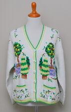 NOS 1980-90s Womens Large Cardigan Bay Tree Print Hand Knit Cotton Cardigan