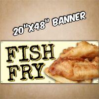 FISH FRY BANNER ayce friday dinner special lent lenten vfw blk yell 20x48