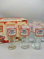 New Vtg Set 6 Indiana Glass Budweiser Beer Emblem Logo Pilsner Mug Glasses w Box