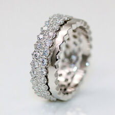 1.2Ct Real Diamond Eternity Wedding Band 14K Solid White Gold Ring Size 8 1/2 5