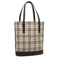 BURBERRY Burberry Check Hand Tote Bag Purse Beige Brown Canvas Leather AK45834