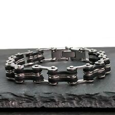 Bike Chain Silver Stainless Steel And Black Rubber Chain Link Men's Bracelet
