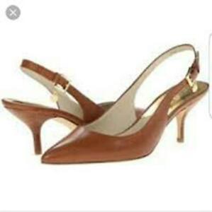 Michael Kors Michael Kelsey Kitten Sling Shoes Luggage Size 8 MEDIUM NIB