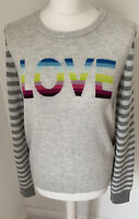 Gorgeous Light Grey Stripe GAP Rainbow 'Love' Jumper 30% Merino Wool Size M