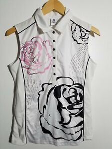 1 NWT DAILY SPORTS WOMEN'S S/L POLO, SIZE: LARGE, COLOR: WHITE/BLACK/PINK (J215)