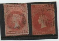SOUTH AUSTRALIA 2d IMPERF AND IMPERF ROULETTE.1855 & 1860.