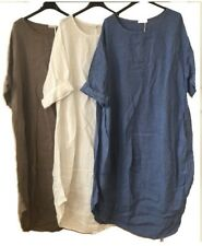 New Ladies Italian Plain LINEN Lagenlook Quirky Comfy Casual COCOON Tunic Dress