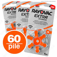 60 Batterie PILE RAYOVAC Extra 13 per Apparecchi Acustici PROTESI udito PR48