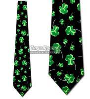 Shaded Clover Ties Irish Necktie St Patricks Day Holiday Mens Neck Tie Black NWT