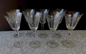 8 Central Glass Harding Griffin Griffon Gryphon Etched stemmed Goblet Glass lot