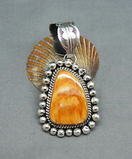 Signed Navajo Sterling Silver Spiney Oyster Pendant w Large Bale