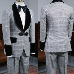 2 Piece Plaid Men Suits Shawl Lapel Balzer Pants One Button Wedding Tuxedos Coat