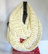 Handmade NEW Cream White Infinity Scarf Extra Wide Chunky Crochet Unique Gift