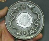 "4"" Collect China Old Tibetan Silver Dragon Amimal Money Coins Tray plate""光緖元寳"""