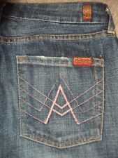 SEVEN FOR ALL MANKIND WOMENS A POCKET FLARE JEANS SIZE 28 GENTLY DISTRESSED