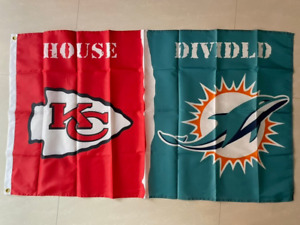 Kansas City Chiefs Miami Dolphins House Divided Flag 3ft x 5ft NFL Banner
