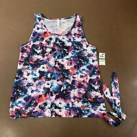 Ideology Women's Size Large Colorful Floral Blue Side Tie Athletic Tank Top NWT
