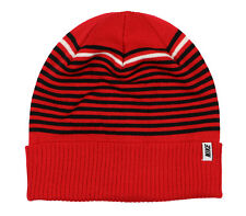 NIKE Striped Novelty Beanie Adult One Size Fits Most University Red Black ACG