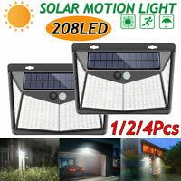 208LED Solar Powered Light Outdoor PIR Motion Sensor Garden Security Wall Lamp