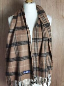 """Vtg Burberry London Scarf  Brown classic check 100% Lambswool Authentic 56""""x13"""""""