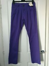 DENIM CO SMART LILAC PURPLE STRETCHY COTTON TAPERED STRAIGHT CHINOS TROUSERS 10