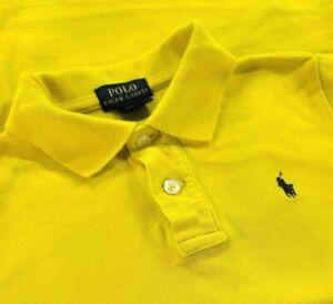 Polo Ralph Lauren Polo Shirt Boys Sz 7 Yellow Short Sleeve Rugby Blue pony