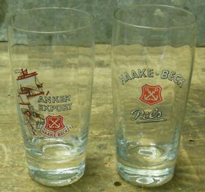 Haake Beck Bremen Anker Export Pils 2 alte Biergläser Gläser