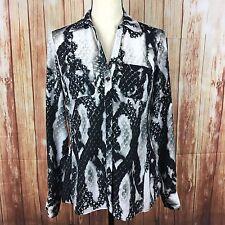 Jones New York Womens 4 Blouse Black White Gray Reptile Print Long Sleeve Career