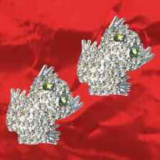 NEU-Dekorative Frosch Ohrringe-Echt 925 Sterling Silber-Zirkonia Strass Kristall
