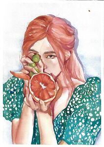 original painting A4 265SAn art samovar Watercolor modern female portrait Signed