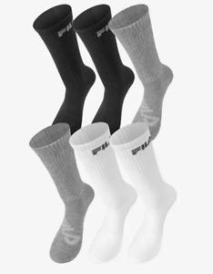 FILA Socks Mens Large Authentic Cushioned Crew Length 6 Pairs Black Grey White